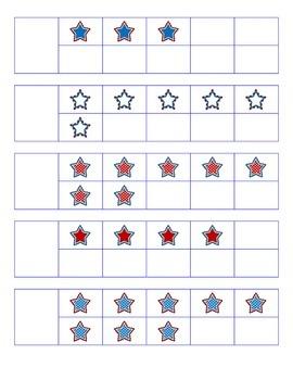 File Folder Activity Number to Quantity 1-10 Ten Frames (Patriotic Stars Theme)