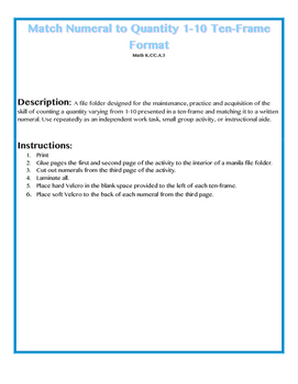 File Folder Activity Number to Quantity 1-10 Ten Frames (Winter Theme)