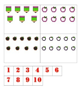 File Folder Activity Numeral to Quantity 1-10 (Back to School Theme)