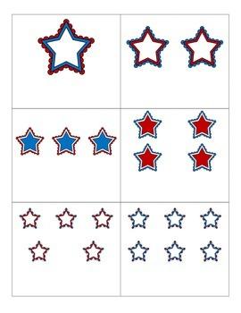 File Folder Activity Numeral to Quantity 1-10 (Patriotic Stars)