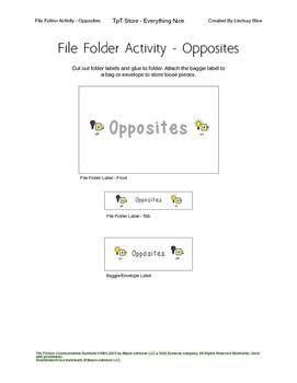 File Folder Activity -Opposites