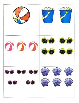 File Folder Activity Quantity to Numeral 1-10 (Beach Theme)
