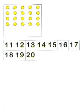 File Folder Activity Quantity to Numeral 11-20 (Beach Theme)