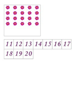 File Folder Activity Quantity to Numeral 11-20 (Flower Theme)
