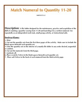 File Folder Activity Quantity to Numeral 11-20 (Halloween Theme)