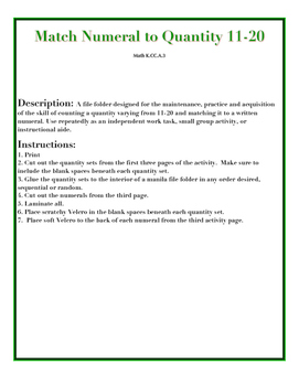 File Folder Activity Quantity to Numeral 11-20 (Holiday Theme)