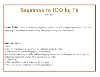 File Folder Activity Sequence 1-100 Brown (Thanksgiving Theme)