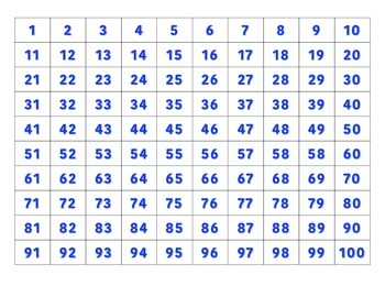 File Folder Activity Sequence Numbers 1-100 (Blue)