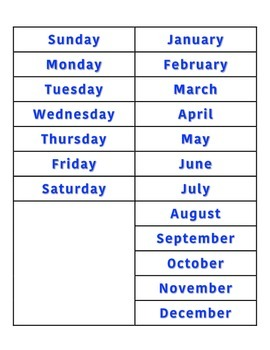 File Folder Activity Sequencing Days/Months (Blue)
