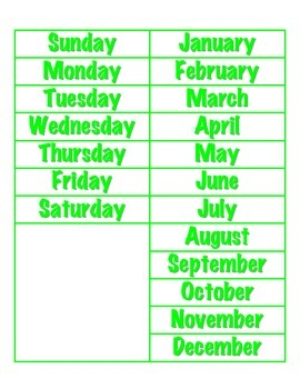File Folder Activity Sequencing Days/Months (Light Green)