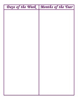 File Folder Activity Sequencing Days/Months (Purple)