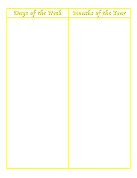 File Folder Activity Sequencing Days/Months (Yellow)