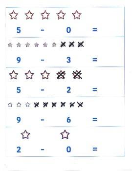 File Folder Activity Subtraction 0-9 (Patriotic Stars Theme)