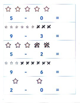 File Folder Activity Subtraction 0-9 (Patriotic Stars Theme)