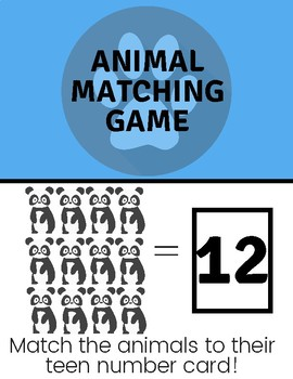 File Folder Animal Matching Game | Teen Numbers