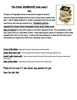 File Folder Book Report Guidelines and Template