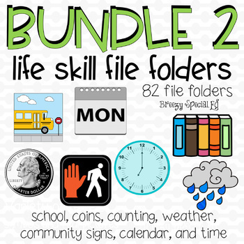 File Folder Bundle Second Edition - 82 file folders for Life Skills / Special Ed