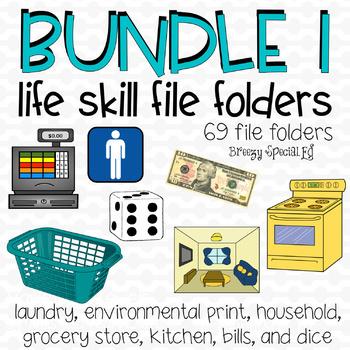Special Ed Life Skill File Folder Bundle 65+ file folders (First Set)