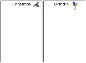 File Folder Categories: Christmas/Birthday (FREE)