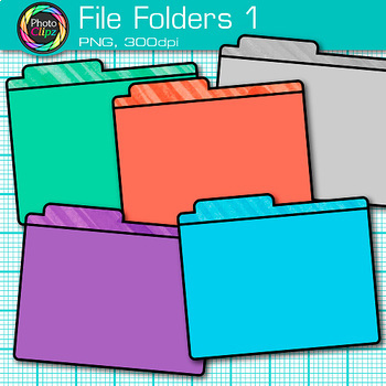 File Folder Clip Art {Rainbow Glitter Back to School Supplies, Organization} 1