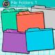 File Folder Clip Art {Rainbow Glitter Back to School Supplies, Organization} 1