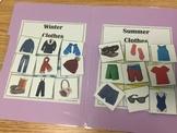 File Folder Clothing Sort- Summer or Winter Wear