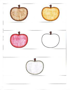 File Folder Color Word Match (Apple Theme)