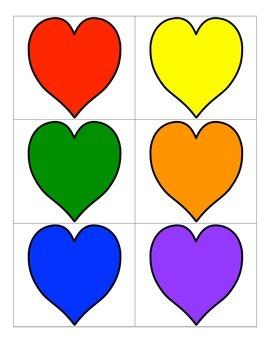 File Folder Color Words (Heart Theme)