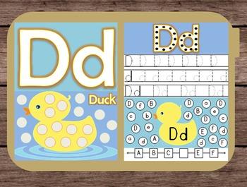 File Folder Game Alphabet Uppercase Lowercase Letter D Playdough Mat Busy Bag