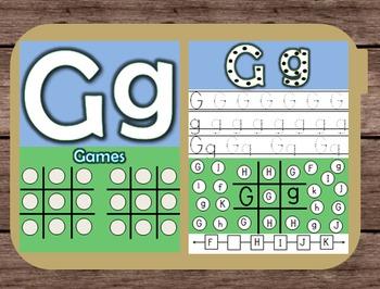 File Folder Game Alphabet Uppercase Lowercase Letter G Pla