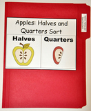 "File Folder Game--""Apple Halves and Quarters Sort"""