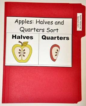 """File Folder Game--""""Apple Halves and Quarters Sort"""""""