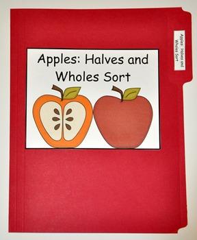 """File Folder Game--""""Apple Halves and Wholes Sort"""""""