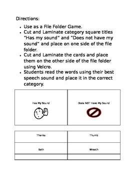 File Folder Game Articulation TH,L,R,S