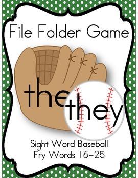 File Folder Game Baseball (Fry Sight Word Match)