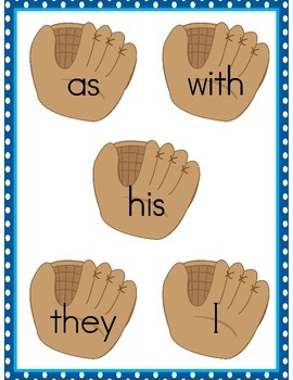 File Folder Game Baseball (Fry Sight Word Match)
