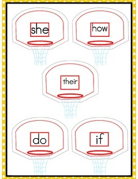 File Folder Game Basketball (Fry Words 41-50)