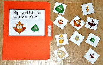 """File Folder Game--""""Big and Little Leaves Sort"""""""