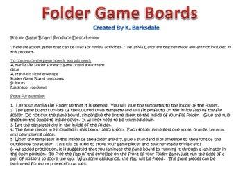 File Folder Game Board Format 1