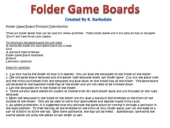 File Folder Game Board Format 2