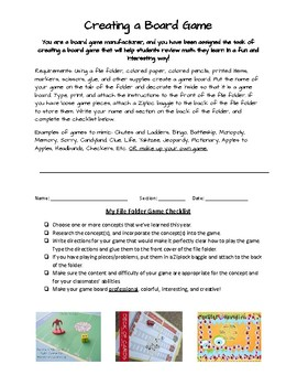 File Folder Game Board - Student Creation Directions
