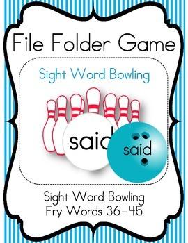 File Folder Game Bowling (Fry Words 36-45)