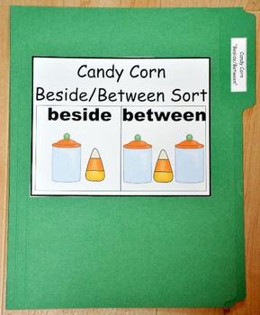 "File Folder Game:  Candy Corn ""Beside/Between"" Sort"