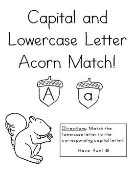 File Folder Game- Capital and Lowercase Letter Acorn Match!
