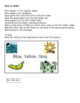 File Folder Game, Color Word Sort- Blue, Yellow, Gray