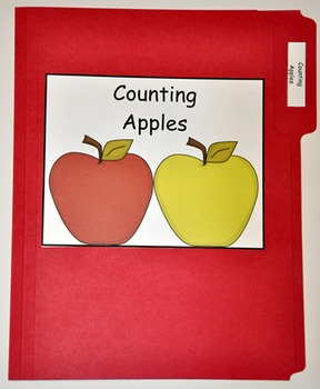 """File Folder Game--""""Counting Apples"""""""