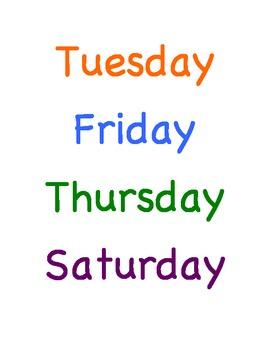 File Folder Game: Days of the Week