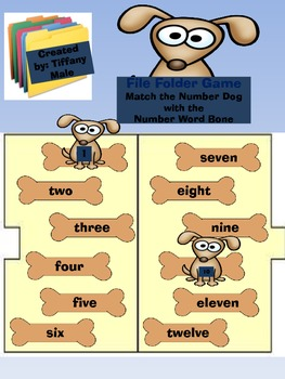 File Folder Game: Dog Number and Number Word Match 1-12, 10-21, and by 10's