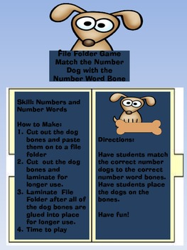 File Folder Game: Dog Number and Number Word Match 10-21