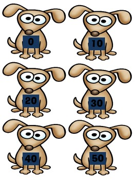 File Folder Game: Dog Number and Number Word Match by Tens